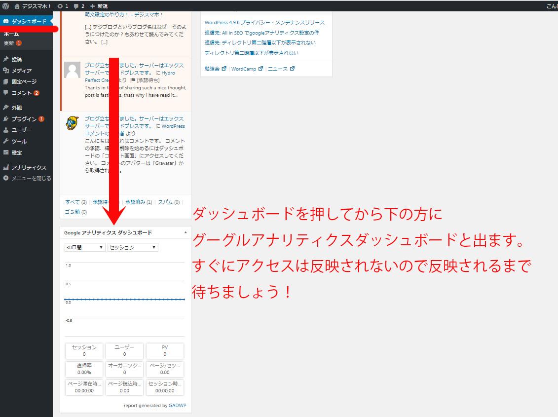 グーグルアナリティクスワードプレスアクセス解析確認方法