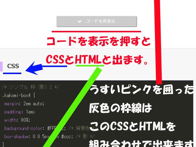 参考にさせてもらった囲い枠線の入れ方CSSとHTML解説