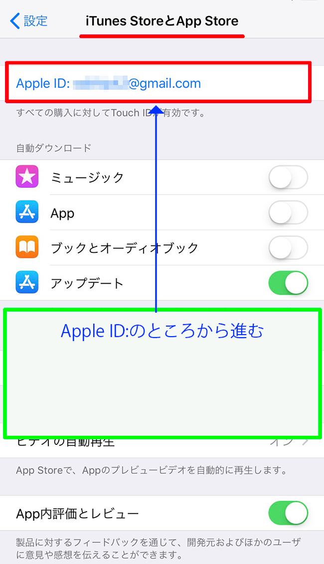 設定アップルIDのボタンに進む
